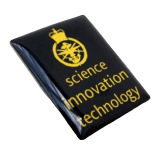 Rectangle shaped custom made metal badge for a science innovation technology school. It has simple one colour logo printed on the front with a protective clear coating applied on top.