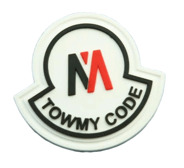 This image is of a custom rubber badge with 2D raised logo from the surface. The logo is two colour.