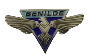 Custom metal badge for a school house team known as Benilde.