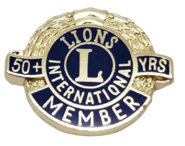 Custom metal badge for wearing by members that have been with the international organisation for more than 50 years.