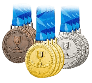 Personalised medallions for sporting winners. These are generically designed with a picture of a trophy and are shown in bronze, gold and silver metal finishes.