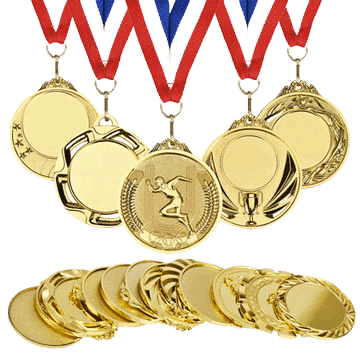 Custom medals with a blank area in the middle so you can engrave your own winner details.