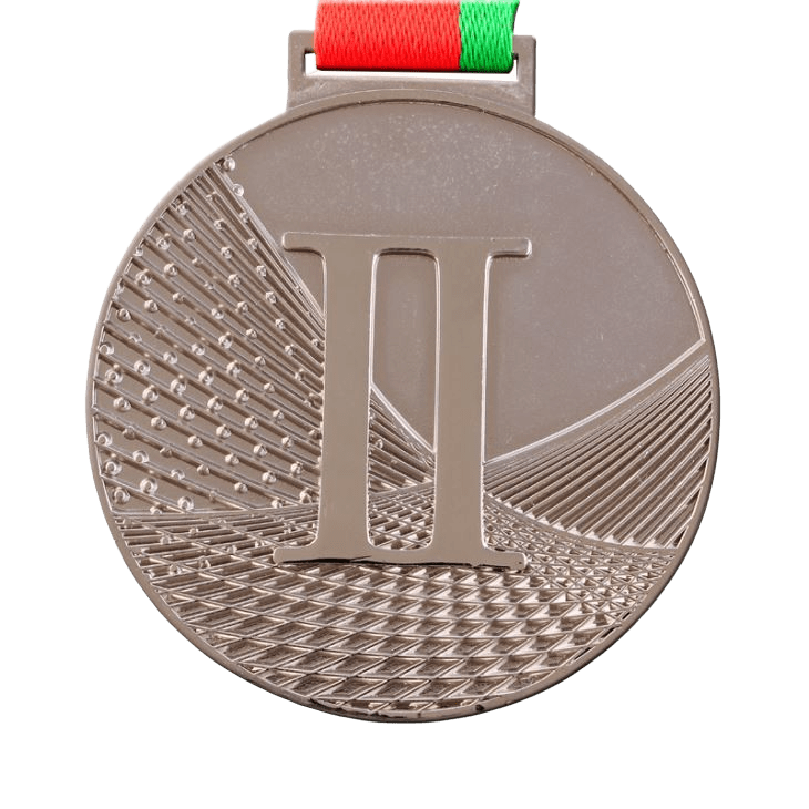 Custom made medal with a stamped logo and silver plating. It feautures a red and green ribbon for hanging off clothes.