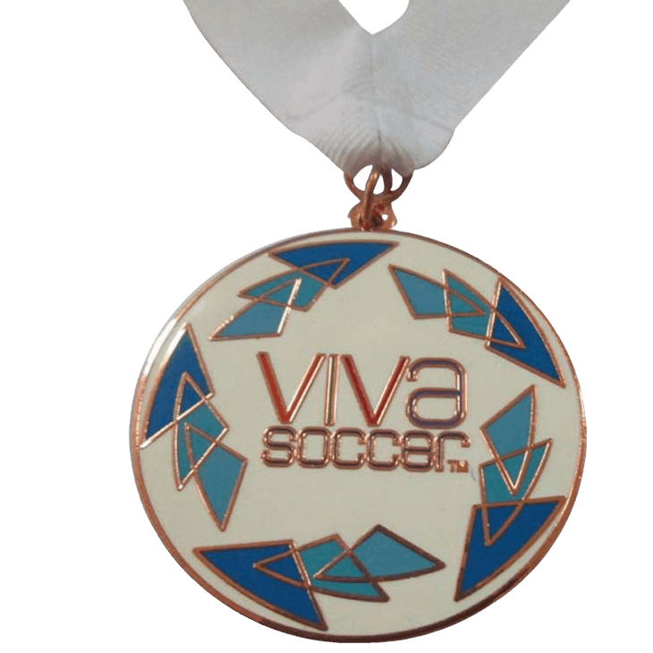 Personalised medal for a Viva Soccer tournament with a white ribbon.