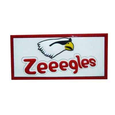 This is an example of a clothing patch in soft PVC material. It has red writing and a picture of a cartoon like bird as the logo.
