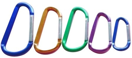 D-shaped carabiner hooks in various shapes and sizes.