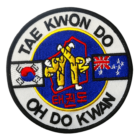 Custom embroidered patches for a martial arts Taekwondo learning club.