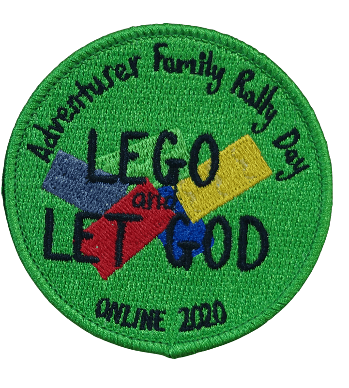 Green circular custom embroidred patch for a youth Church group. It has a neat Lego inspired theme in the centre.
