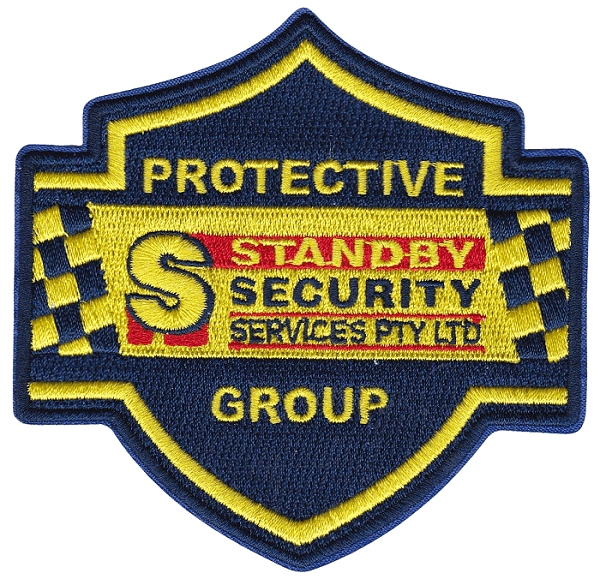 Custom embroidered crest patch in blue, red and yellow for a local security company.