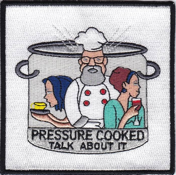 Rectangular custom embroidered patch for a catering company.
