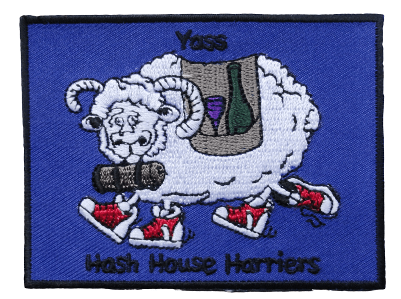 Embroidery patch for a Yass hash community group featuring a ram animal and lettering written underneath. The Embroidery is high detail with lots of clarity.
