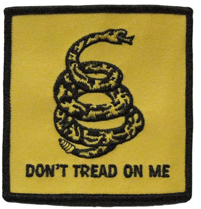 Custom embroidered clothing label featuring a snake image and Don't Tread On Me written below in black thread.