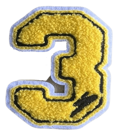 Custom embroidered patch in shape of the number three. The patch has a black outline and yellow threads filling the body to create a towel texture.