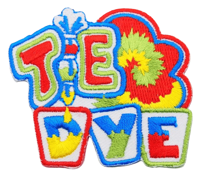 Custom embroidered patch with a complex lettering and artwork arrangement in multi colours.