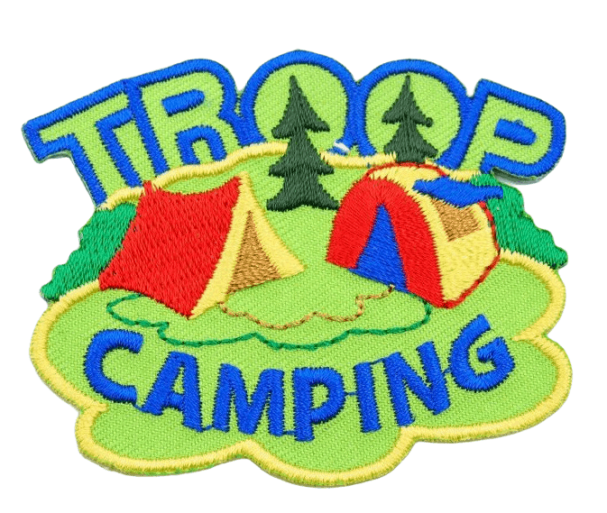 Custom embroidered patch with images of red tents on grassland and blue wording for a camping group.