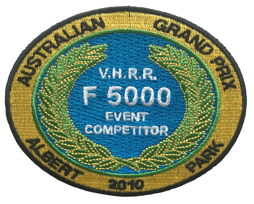 Custom sew on patch with a sophisticated design for an Australian Grand Prix event competitor team.