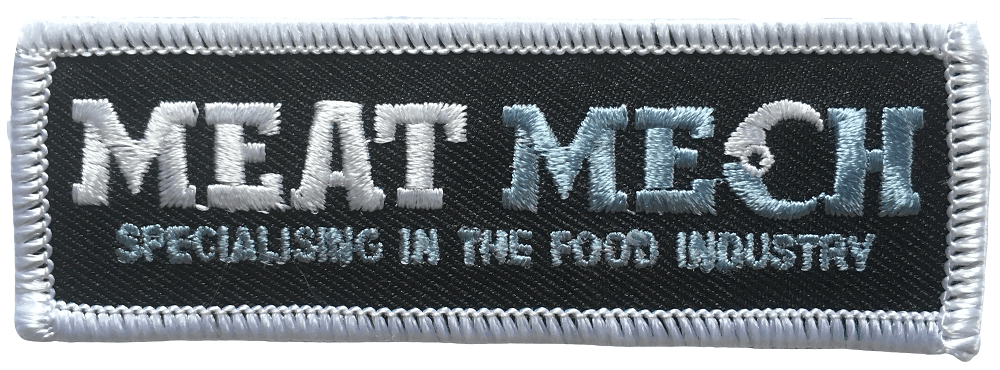 Rectangular custom embroidered clothing label with the logo stiched in two colours for a food industry company.