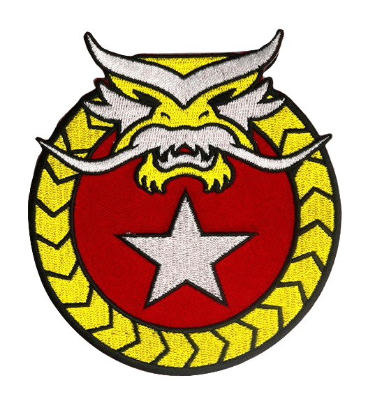 Custom embroidered patch with bright yellow logo and angry animal face.