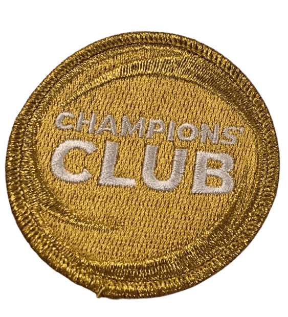 Circular gold custom embroidered patch for a community fundraising event.