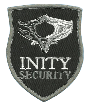 Custom embroidered patch for a security company featuring their official emblem.
