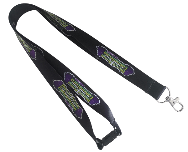Rugged black heat transfer lanyard for a diesel mechanic business. These lanyards feature a metal swivel hook, plastic safety breakaway clip and full colour logo printed with dye sublimation.