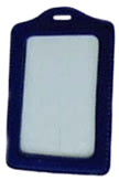 Synthetic ID Card Holder. It is like a luggage tag in portrait orientation.