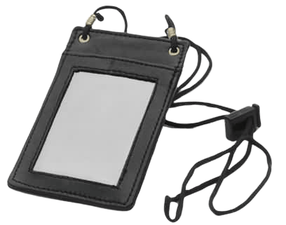 Leather ID Card Holder. Suitable for any situation where an identification must be displayed and/or hung from the neck. Size: 137mm x 90mm or 5.4 inch x 3.5 inch. ID HOLDER Window Size: 85mm x 68mm or 3.3 inch x 2.7 inch. Suitable For: Credit Card / Identification Size Cards / IDs. These ID Holders are stylish and comfortable. They have room at the rear for extra cards, coins or notes.