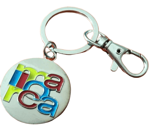Circular promotional metal keyring with a coloured filled stamped logo.