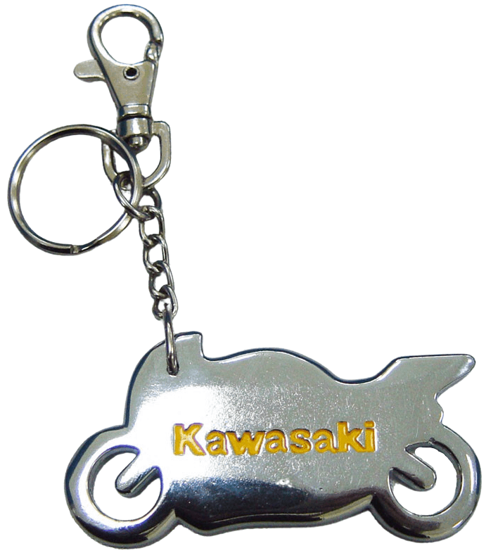 Nickel plated 3D custom metal keyring in the shape of a motorcycle. It also features a debossed logo with yellow printed colour infill.