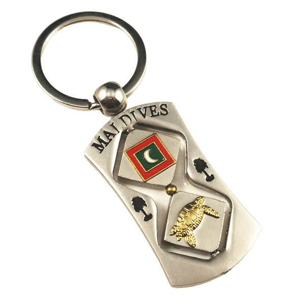 Rectangle custom metal keyring with a stamped logo. This keyring design is to promote the Maldives.