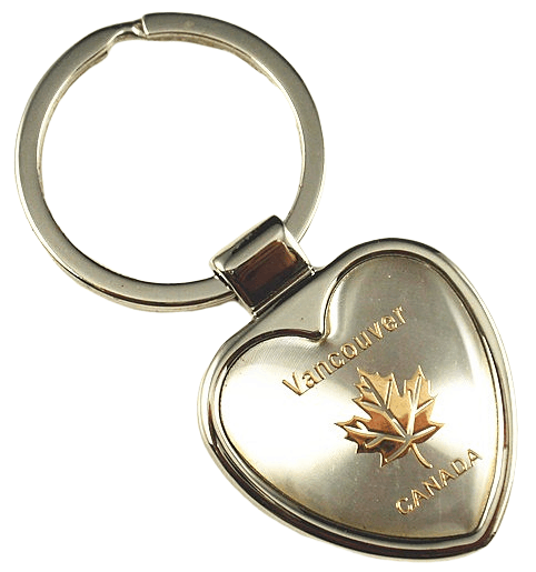 Silver heart shaped promotional metal keychain with a laser engraved logo. This forms a very smart and official keyring design to promote Vancouver Canada.