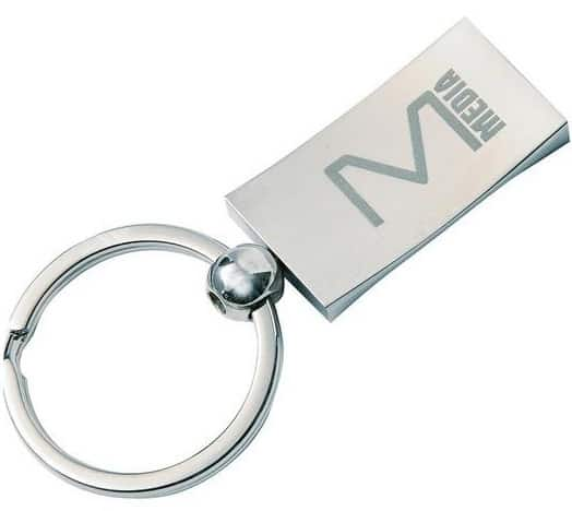 Laser engraved custom metal keyring for a media company.