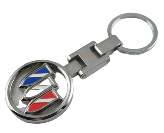 Promotional metal keyring with logo held within a circle ring to create a hollow effect.