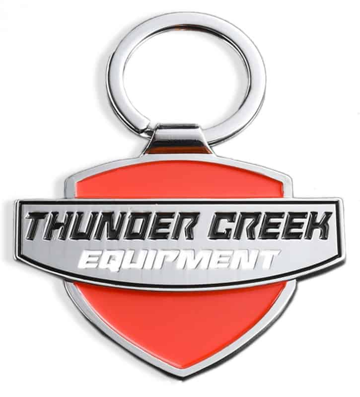 Custom metal keyring with sharp a 2D raised and engraved logo for an equipment company.