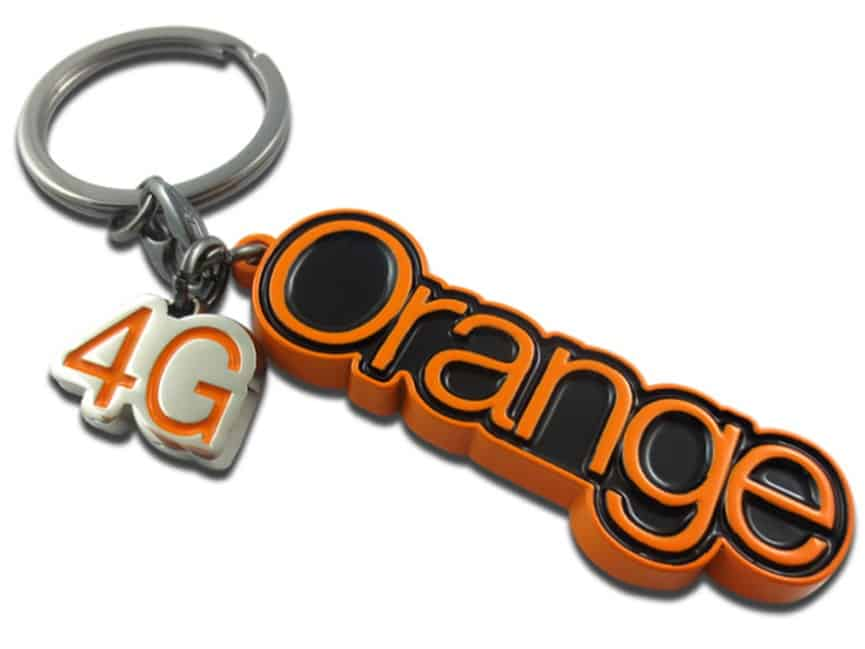 Branded metal keyring cut around the wording Orange. It also has a separate 4G logo stamped metal accessory attached to the main split ring.