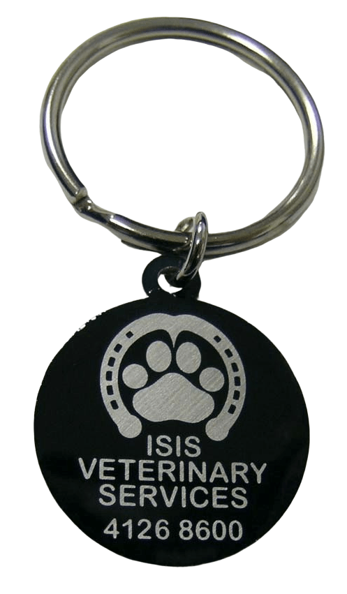 Custom metal keychain for a verterinary services company. The logo is simply etched out to form a contrasting effect.