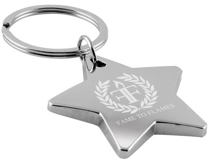 Custom metal keyring in star shape with laser engraved logo
