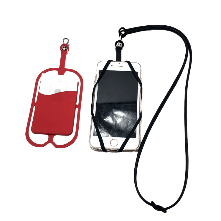 Thin thread mobile phone lanyard. There is an example in blue and red pictured.