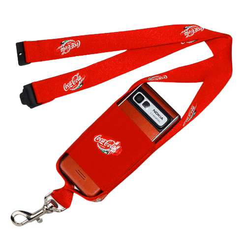 Red mobile phone pouch with lanyard.