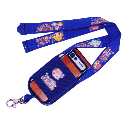 Blue mobile phone pouch with lanyard.