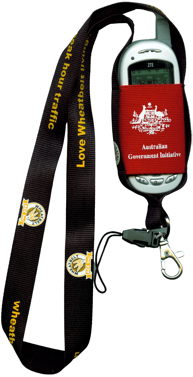Mobile phone pouch with lanyard for an Australian Government Department.
