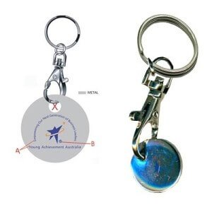 trolley token shopping keyring custom bulk manufacture with own design promotional and brand awareness