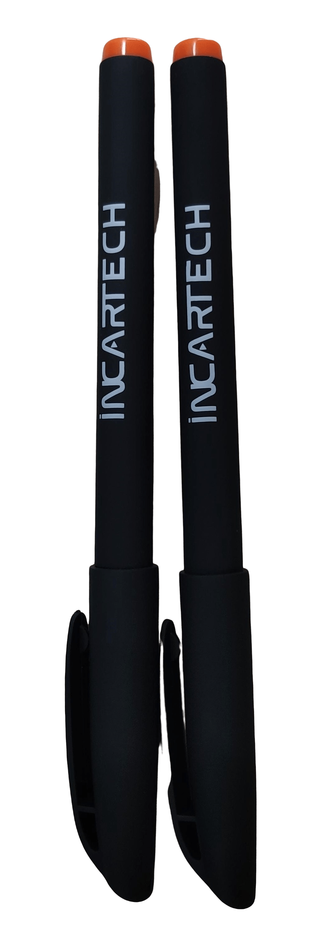Personalised black marker pens with a white colour logo.