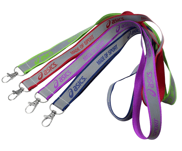 Personalised reflective lanyards in various and logo and material colours-swivel. All feature the QW Direct standard and recommended metal swivel hook.