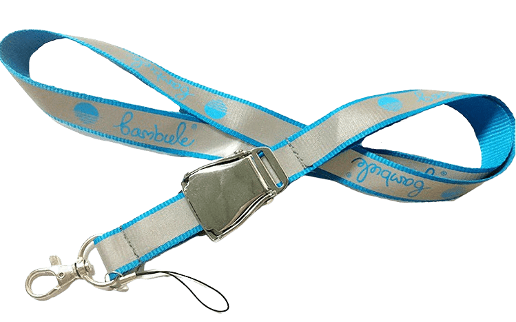 Reflective lanyard with swivel hook and mobile phone string.