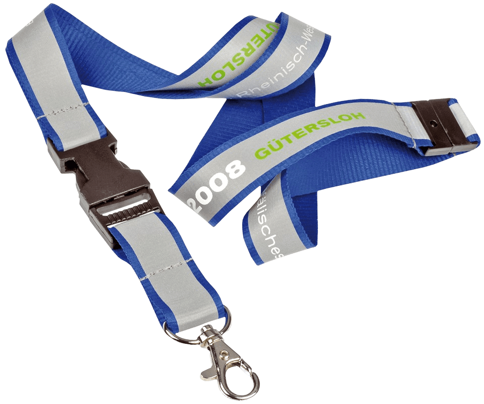 Reflective lanyard with breakaway clip and swivel hook.