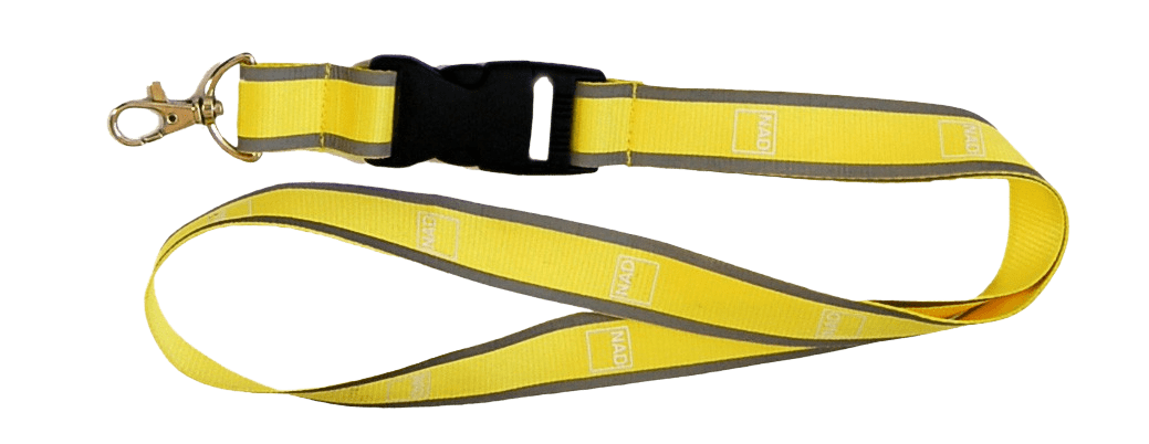 Yellow reflective lanyard with plastic breakway clip and metal swivel hook.