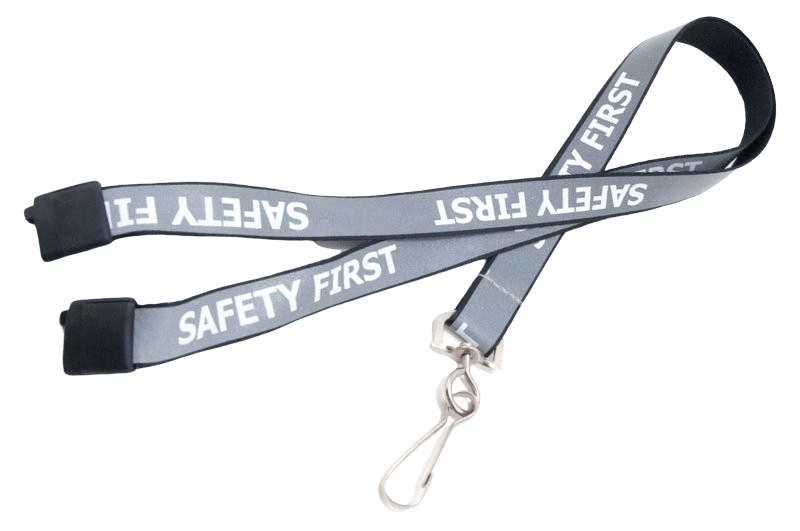 Silver reflective lanyard with safety buckle and dog clip.