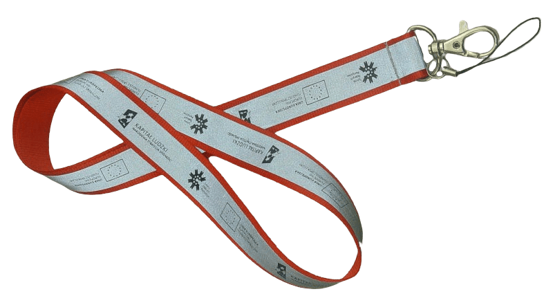 Red reflective lanyard with mobile string and swivel hook.