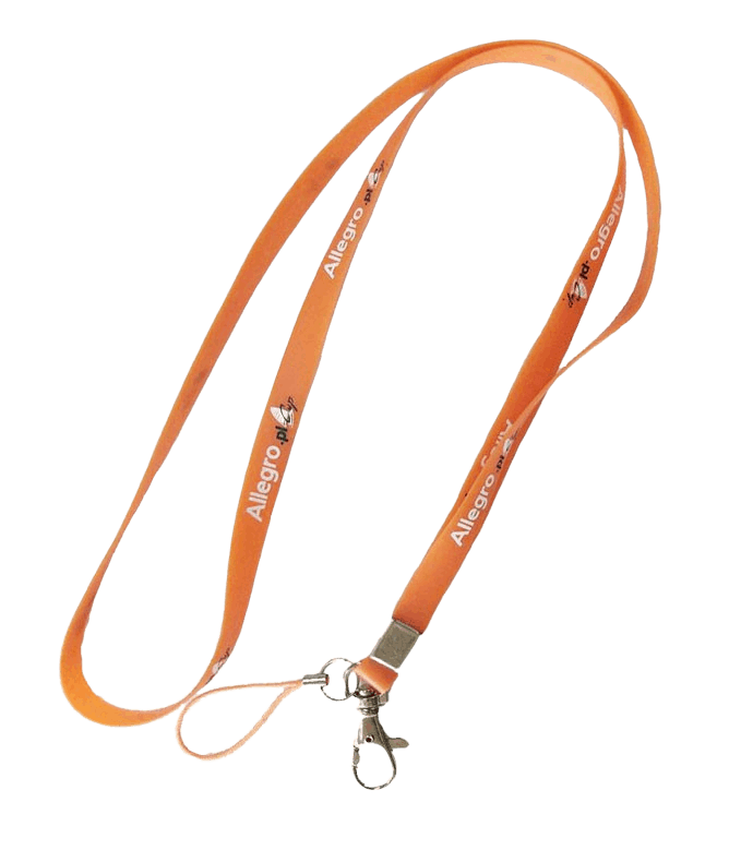 Orange silicone lanyard with mobile string and swivel hook.